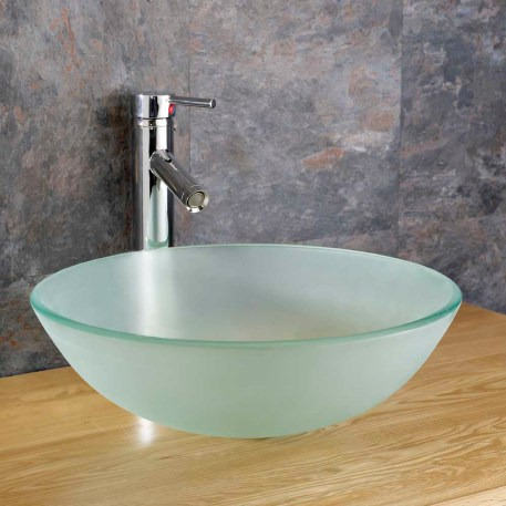 Small Countertop Basin | Round Frosted Glass Bathroom Bowl | 310mm | MONZA