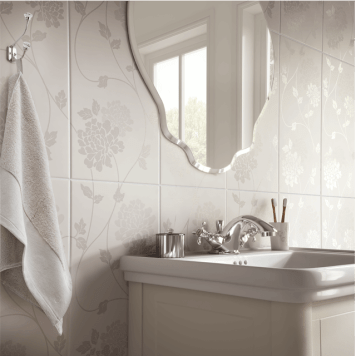 Laura Ashley Bathroom Wall Tile The White Collection Isodore 248mm x 498mm 8 Per Pack - LA51898