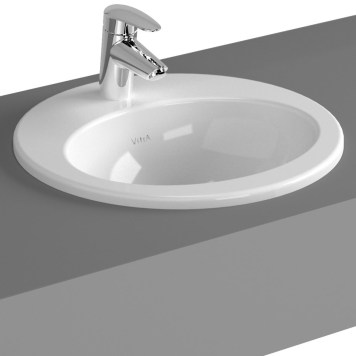 Vitra S20 Compact Countertop Ceramic Basin 480mm, 1 Tap Hole