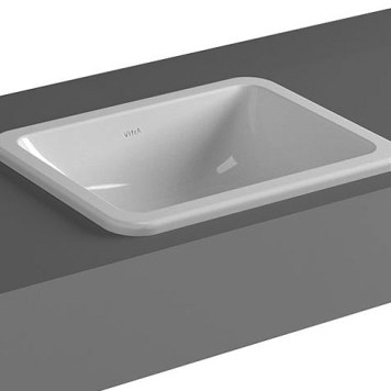 Vitra S20 in Countertop Ceramic Basin 450mm, No Tap Hole