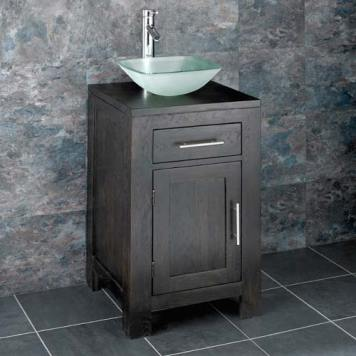 Dark Oak Bathroom Cabinet and Bathroom Basin Bundle Frosted Glass Square Bowl Tap and Waste Alta