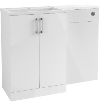 BTL Volta 1100mm Floor Standing Vanity, Basin & WC Toilet Pack (LH) - White Gloss