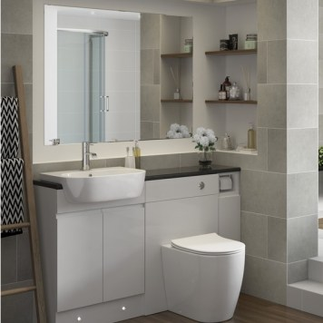 Verona Suite complete with Back to Wall WC and 1TH Semi Recessed Basin