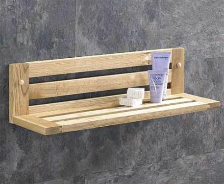 Long Slatted Bathroom or Bedroom Shelf in Natural Solid Oak 600mm Hand Crafted Bathroom Shelf