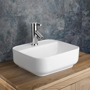 Square Countertop Bathroom Basin in White Ceramic 390mm Square Curved Corners Sink Ponsa