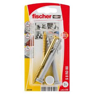 Fischer Grey Nylon & steel Toilet floor fixing kit 80mm Pack of 2