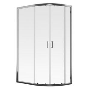 Aqualux Edge 6 Quad Offset Quadrant Clear Glass Shower Shower Enclosure With Corner Entry Double Sliding Door (W)800mm (D)1200mm
