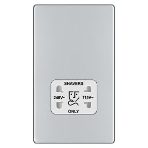 Colours Flat Screwless Silver Chrome Effect Polished Dual Shaver Socket