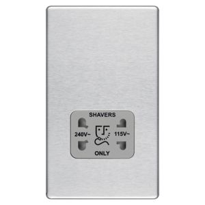 Colours Flat Screwless Silver Steel Effect Brushed Dual Shaver Socket