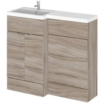 Fuji 100cm Left Handed Vanity With L-Shaped Basin In Driftwood