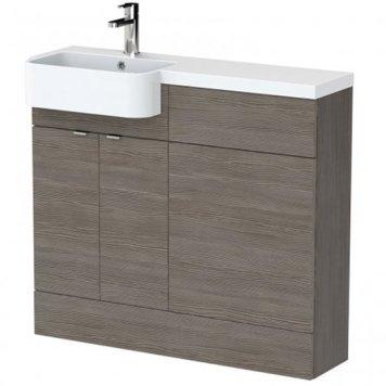 Fuji 100cm Left Handed Vanity With Round Basin In Brown Grey