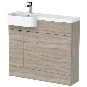 Fuji 100cm Left Handed Vanity With Round Basin In Driftwood