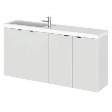 Fuji 100cm Wall Hung Vanity Unit With Basin In Gloss Grey Mist