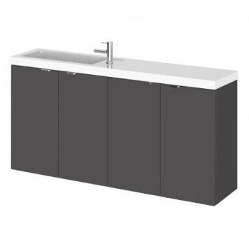 Fuji 100cm Wall Hung Vanity Unit With Basin In Gloss Grey