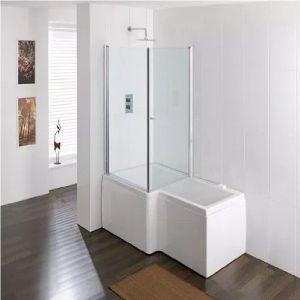 Eastbrook Quantum L Shape Square Bath Screen – 980mm Wide – Silver