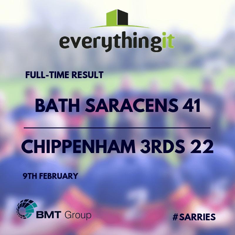 Bath Saracens 41 Chippenham 3rds 22 1
