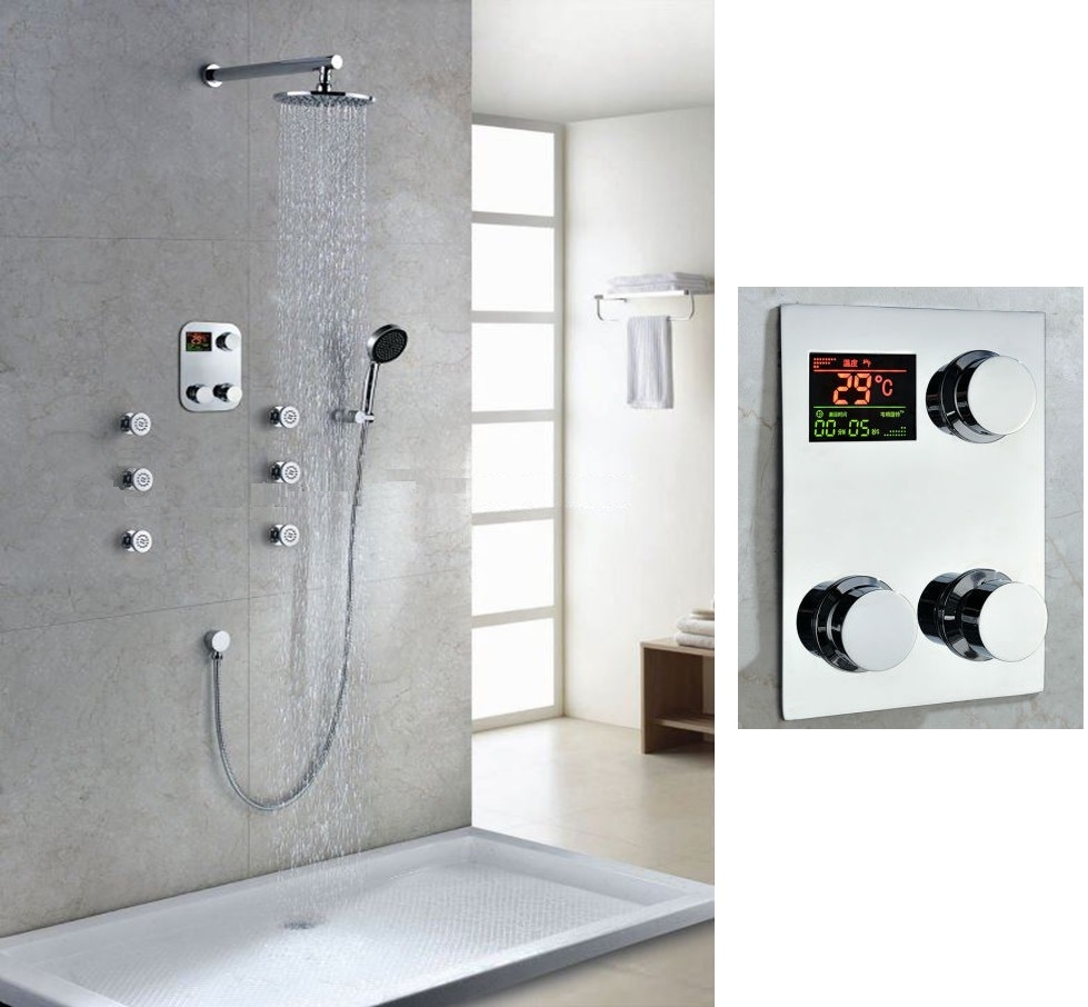 Bathroom Shower Sets Thermostatic Digital Display Bathroom Rainfall Shower Set