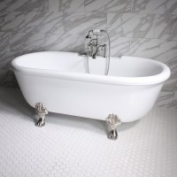 """SS75W 75"""" SanSiro WATER Jetted Double Ended Clawfoot Tub"""