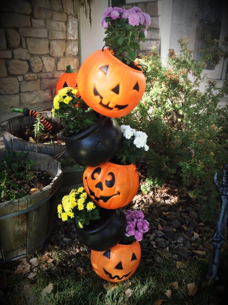 Halloween tipsy pot planter