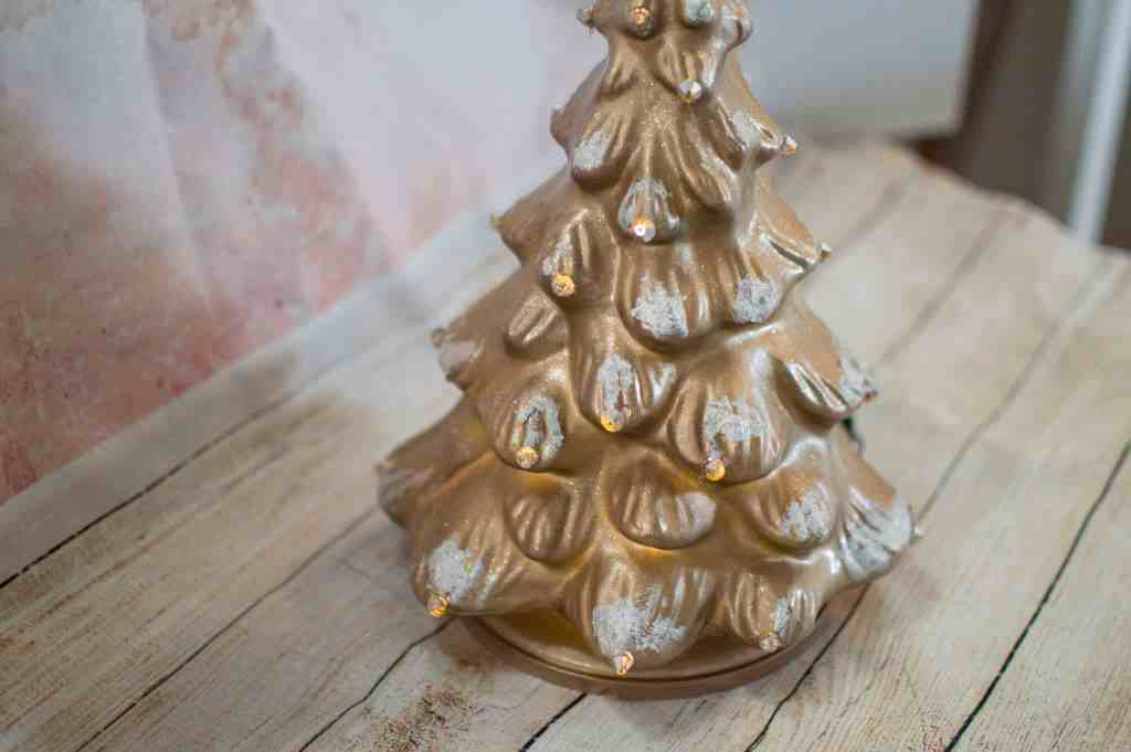 diy glam christmas tree finished with snow and crystals attached