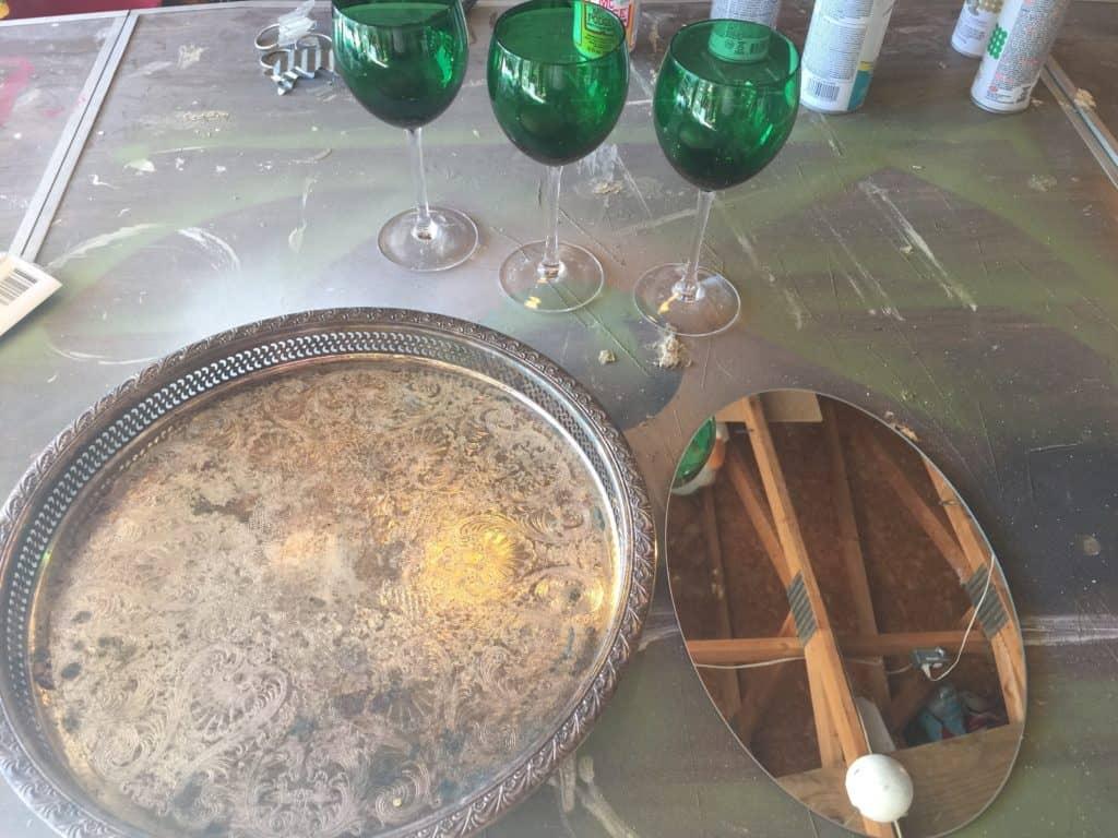 DIY wine glass centerpiece hack