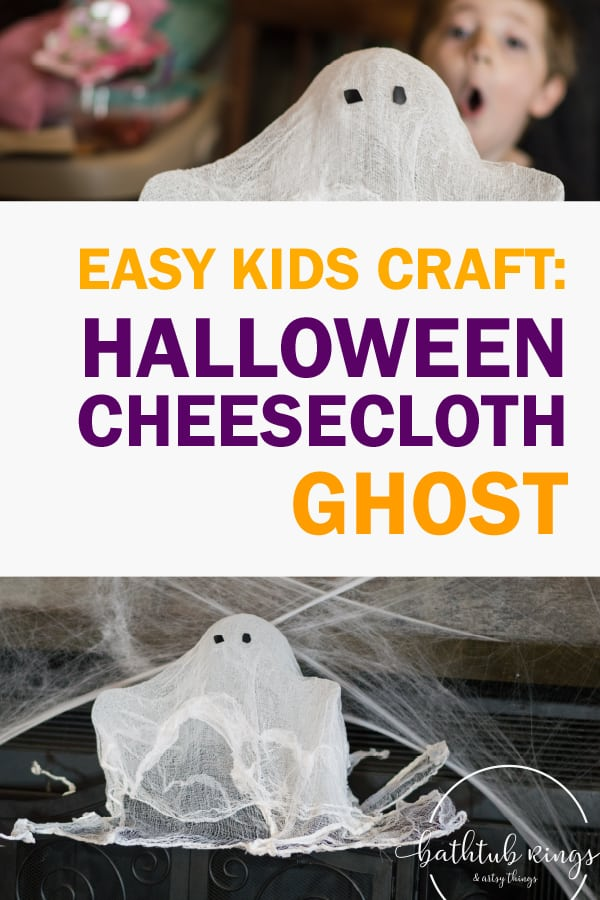 This DIY Halloween Cheesecloth Ghost is kid friendly and super fun! Make your Halloween unforgettable with this awesome kids DIY Halloween Ghost!