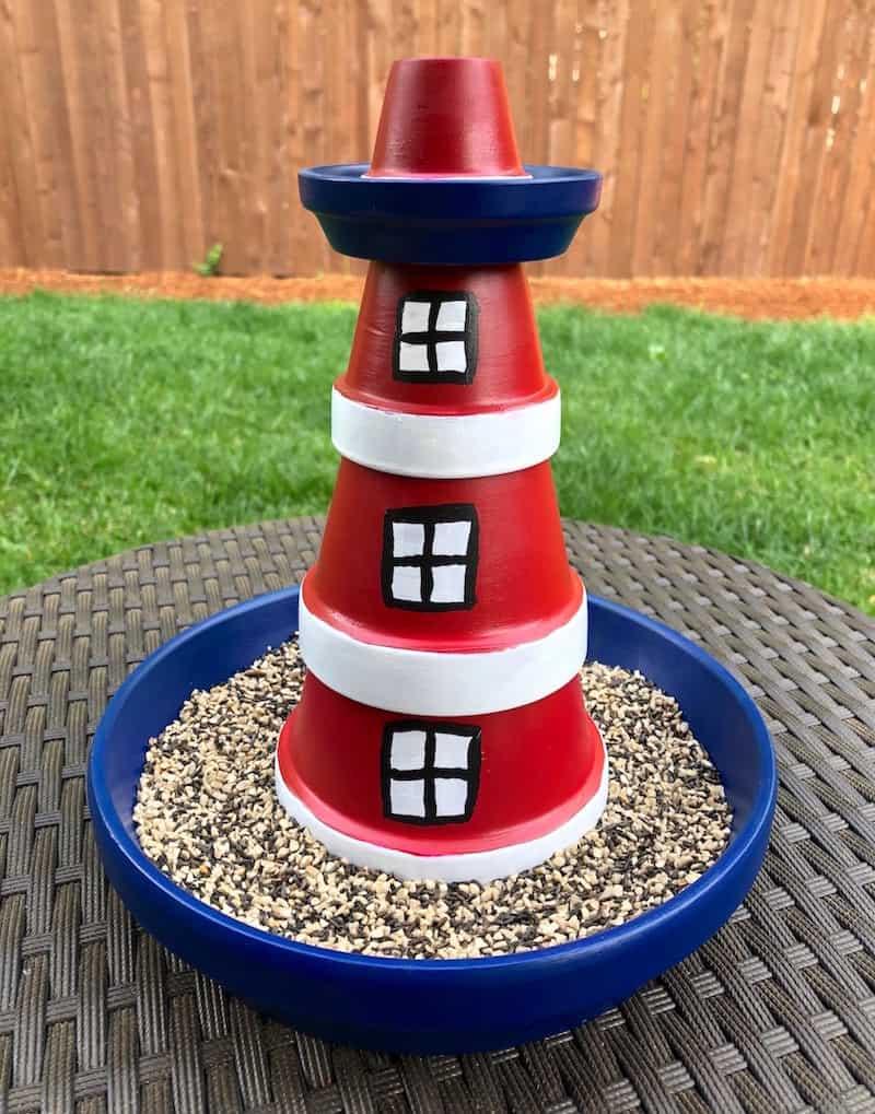 Light house bird feeder made from terracotta pots