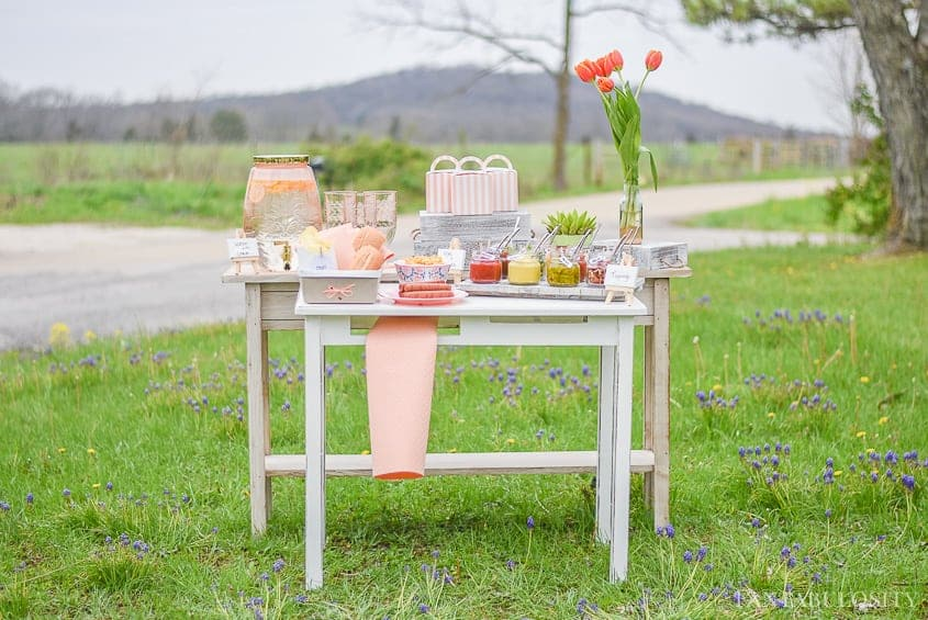 A white table in the grass with a beautiful hot dog bar and blush colored dishes,