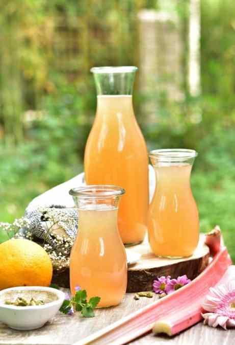 A pitcher of rhubarb lemonade