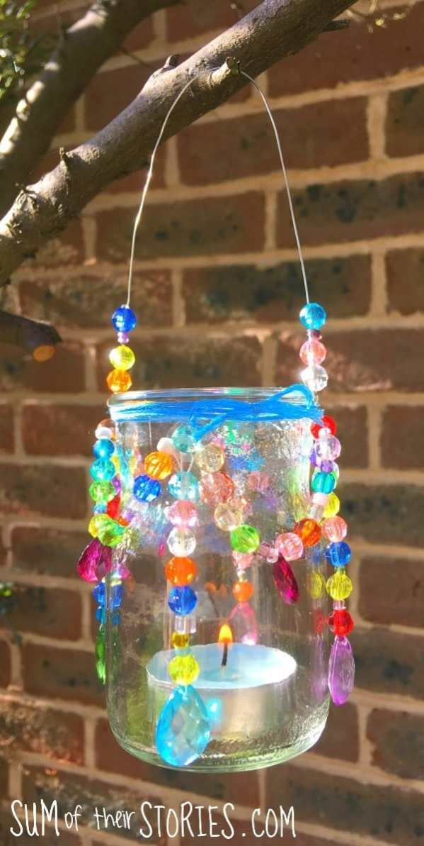 A mason jar chandelier made from beads.