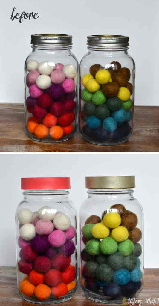 Colorful leather added to the lids of mason jars.
