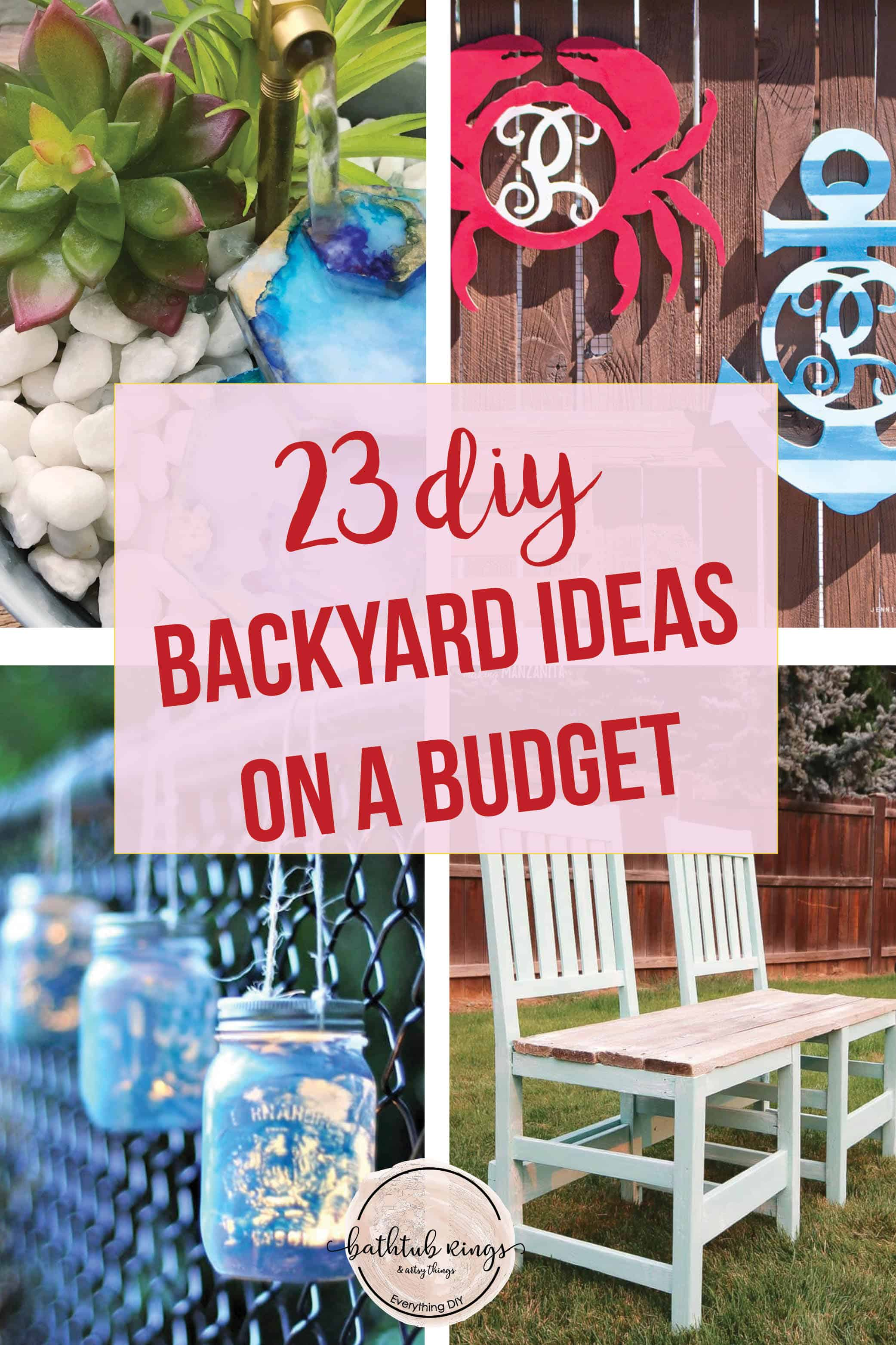 A collage of backyard ideas.