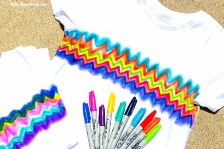 A sharpie colored t-shirt for a teen craft
