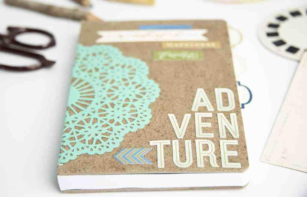 a teen craft cork board journal with collage items
