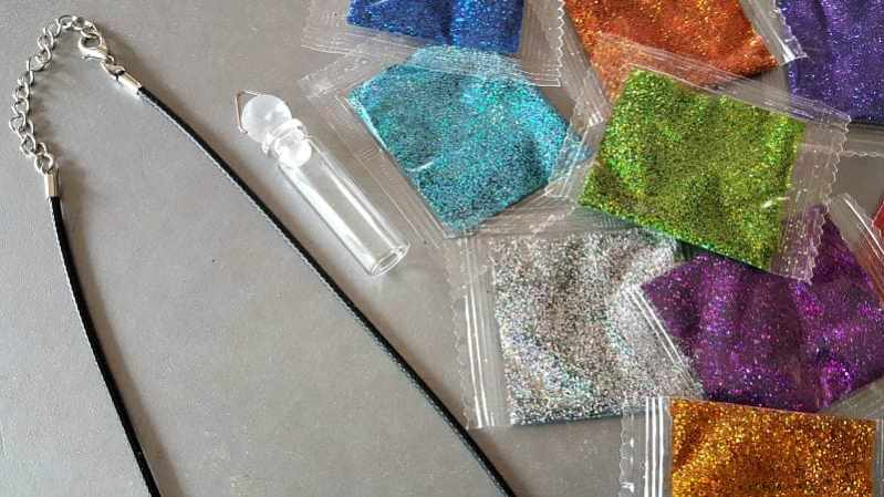 glitter and necklace making supplies for teens