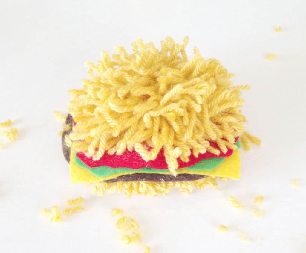 A hamburger made out of yarn