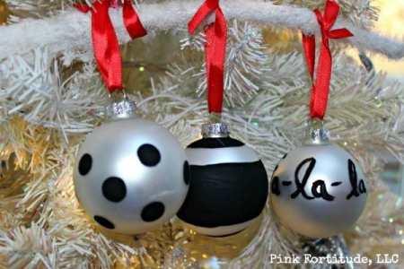 Three black and white Kate Spade look a like ornaments
