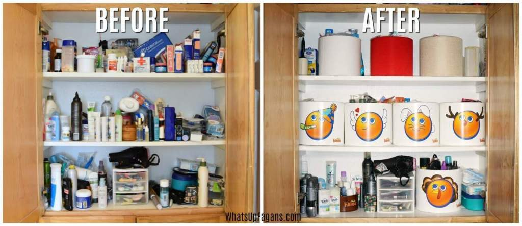 Organize a linen closet before and after picture
