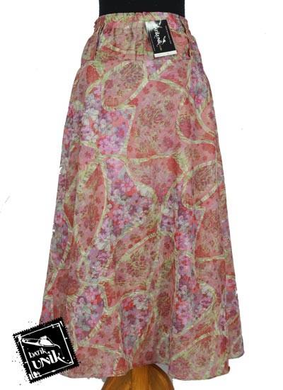 Rok Sifon Panjang Batik Cantik Motif Bunga Sakura