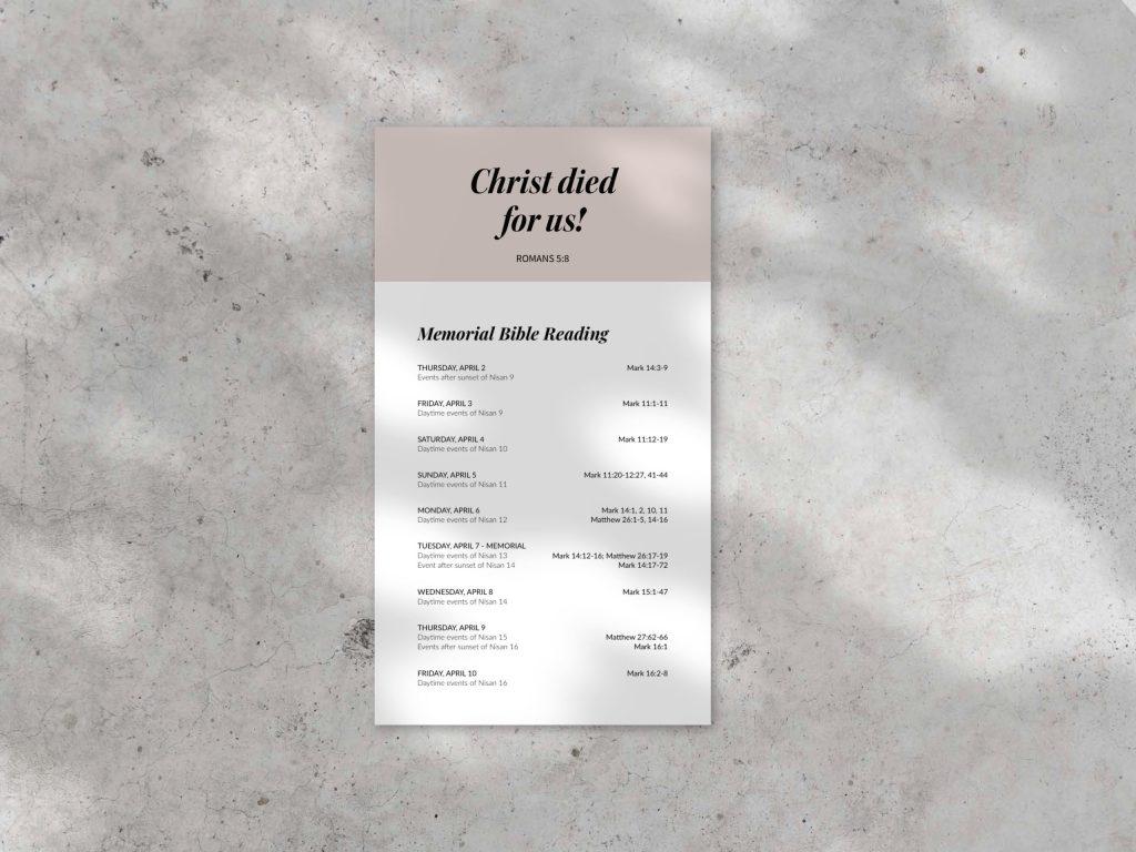 Free Memorial Bible Reading Plan // batistastudio.com