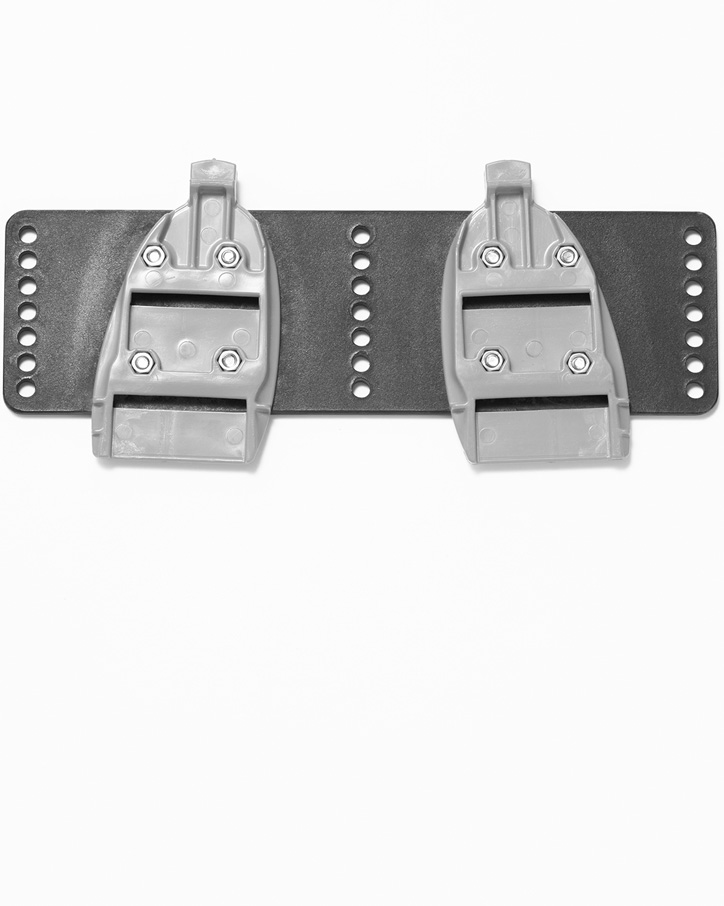 A pair of BasePlates attached to a Sykes foot stretcher/foot board
