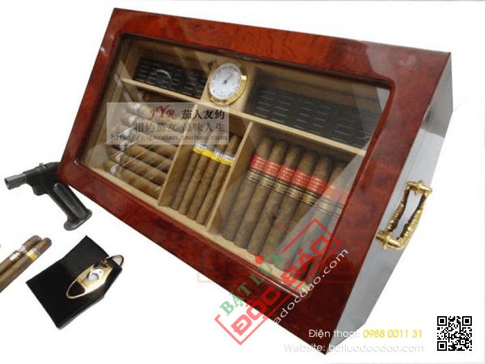 Hộp giữ ẩm Cigar (xì gà) HSB OEM có đồng hồ đo độ ẩm chính hãng- Mã SP: H958