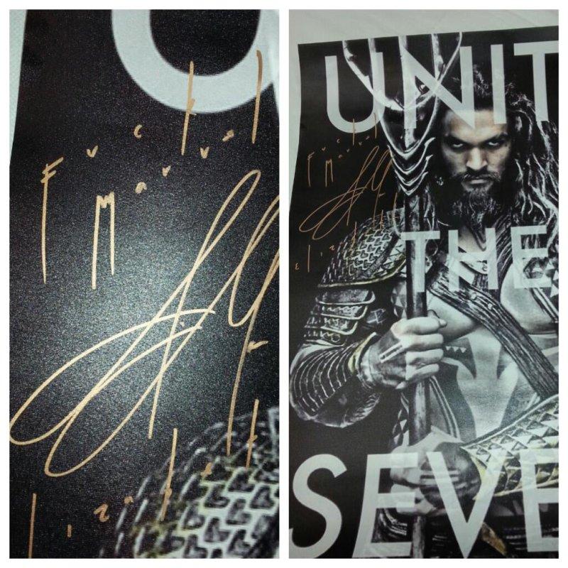 Jason Momoa Signs Fan's Aquaman Poster With Caption 'F**k
