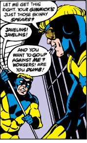 Pictured: Javelin (left, I think) and Booster Gold (right, probably)