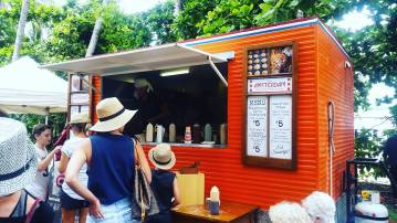 At the market in Port Douglas, where there is a strong Dutch influence, which feels a little surreal...