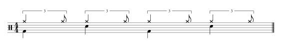 Même rythme avec une noire au lieu d'une croche et d'un demi soupir