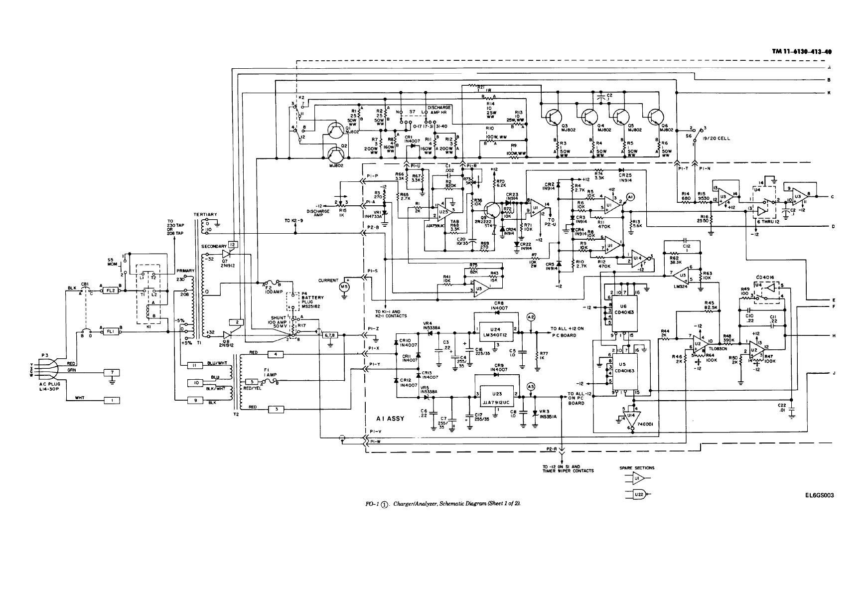 FO-1 Charger/Analyzer,Schematic Diagram (Sheet 1 of 2 )