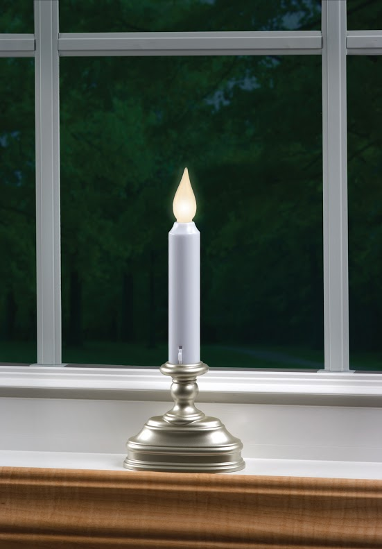 Warm White Pewter Battery Operated Window Candle  Flicker