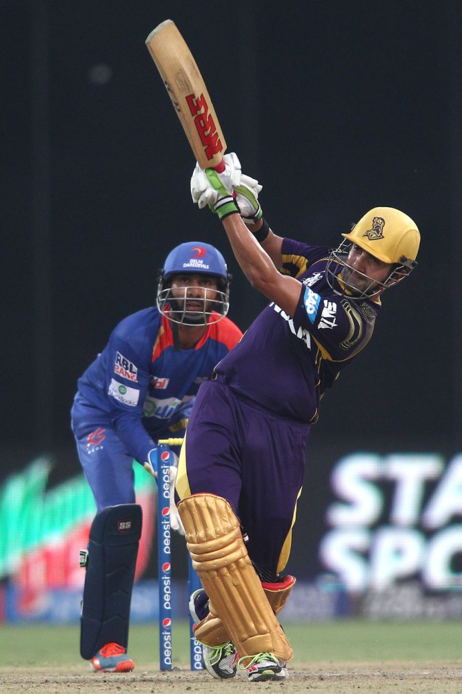 Gambhir hit five boundaries and two sixes during his knock of 69