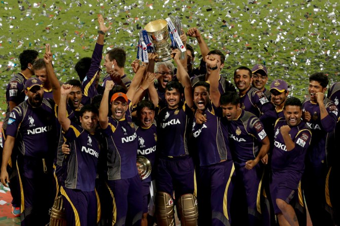 Kolkata celebrate after being crowned champions of the 2014 IPL